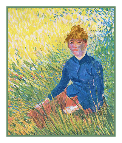 Woman Sitting in the Grass inspired by Impressionist Vincent Van Gogh's Painting Counted Cross Stitch Pattern