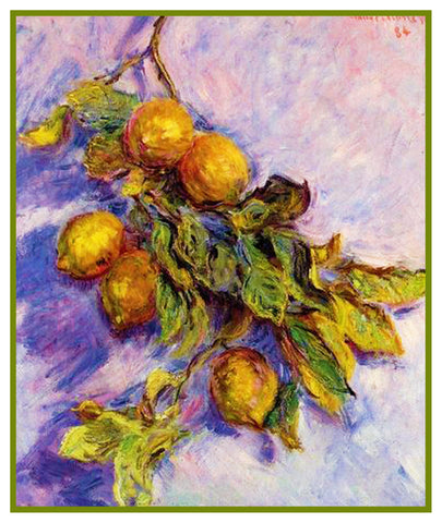 Lemons on a Branch inspired by Claude Monet's impressionist painting Counted Cross Stitch or Counted Needlepoint Pattern