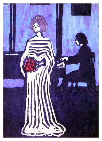 The Young Singer by Artist Wassily Kandinsky Counted Cross Stitch or Counted Needlepoint Pattern