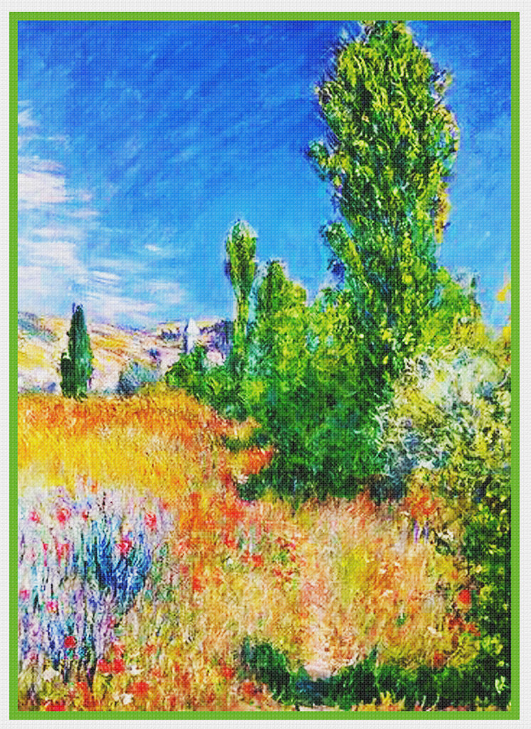 Landscape Ile Saint-Martin Vetheuil inspired by Claude Monet's impressionist painting Counted Cross Stitch Pattern