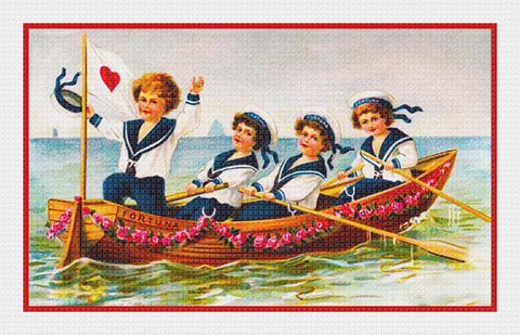 Victorian Sailor Boys Rowing Valentine from Antique Card Counted Cross Stitch Pattern