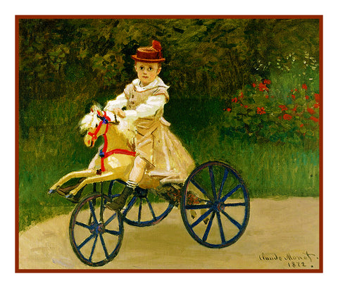 Jean Monet on his Bicycle inspired by Claude Monet's impressionist painting Counted Cross Stitch or Counted Needlepoint Pattern