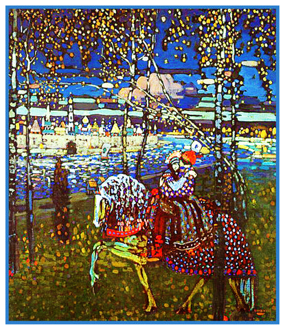 Young Lovers Riding a Horse by Artist Wassily Kandinsky Counted Cross Stitch Pattern