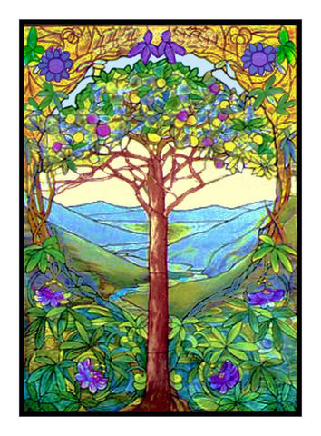 The Tree of Life inspired by Louis Comfort Tiffany Counted Cross Stitch Pattern DIGITAL DOWNLOAD