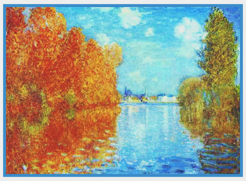 Autumn in Argenteuil France inspired by Claude Monet's impressionist painting Counted Cross Stitch Pattern