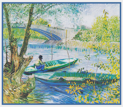 Angler and Boat at the Pont de Clichy Bridge inspired by Impressionist Vincent Van Gogh's Painting Counted Cross Stitch Pattern DIGITAL DOWNLOAD