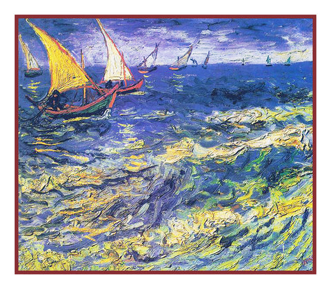 Fishing Boats on the Beach at Saintes-Maries inspired by Impressionist Vincent Van Gogh's Painting Counted Cross Stitch Pattern