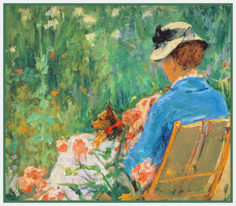 Lydia in the garden with a dog in her lap by American impressionist artist Mary Cassatt Counted Cross Stitch Pattern