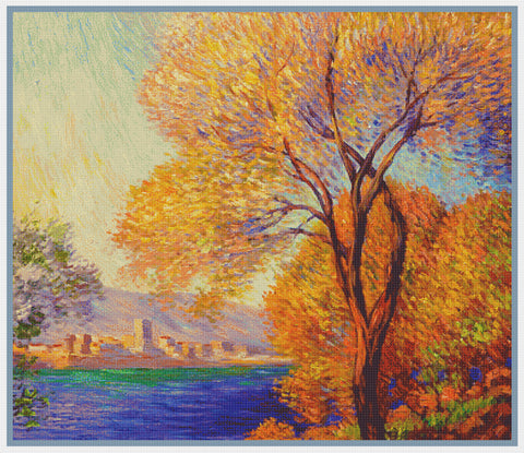 Antibes View of Salis inspired by Claude Monet's impressionist painting Counted Cross Stitch Pattern