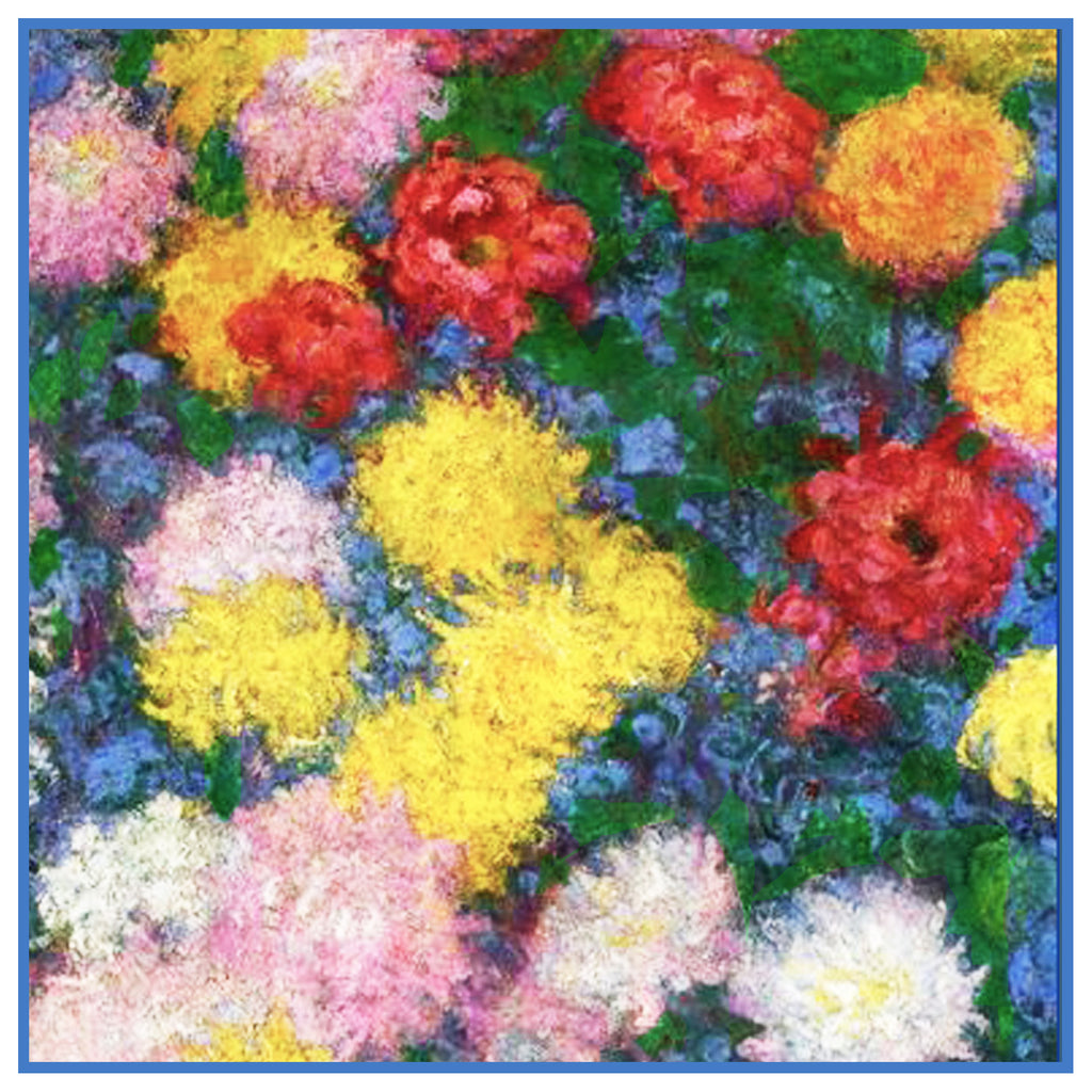 Chrysanthemum Detail #1 inspired by Claude Monet's impressionist painting Counted Cross Stitch or Counted Needlepoint Pattern - Orenco Originals LLC