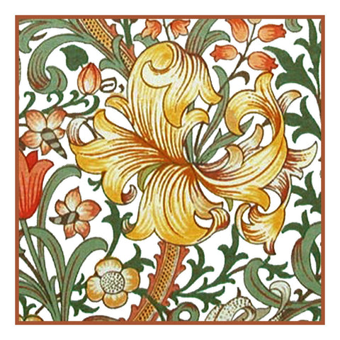 Golden Lily Flower design by William Morris Counted Cross Stitch Pattern DIGITAL DOWNLOAD