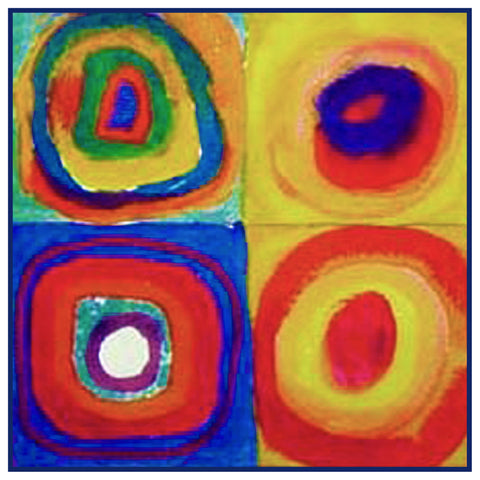 Concentric Circles detail by Artist Wassily Kandinsky Counted Cross Stitch Pattern