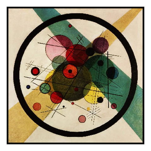 Circles in Circles by Artist Wassily Kandinsky Counted Cross Stitch Pattern