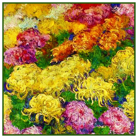 Bed of Chrysanthemums inspired by Claude Monet's impressionist painting Counted Cross Stitch Pattern