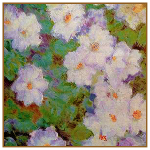 Clematis Vine detail inspired by Claude Monet's impressionist painting Counted Cross Stitch or Counted Needlepoint Pattern