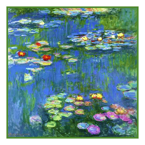 Water Lilies in Bloom detail inspired by Claude Monet's impressionist painting Counted Cross Stitch Pattern DIGITAL DOWNLOAD