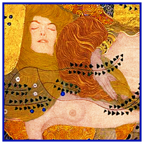 Gustav Klimt Sea Serpents I detail Counted Cross Stitch Chart  Pattern