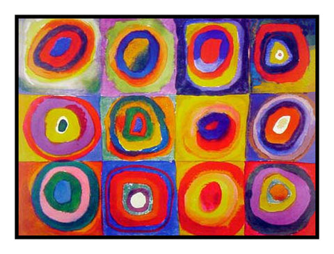 Concentric Circles by Artist Wassily Kandinsky Counted Cross Stitch or Counted Needlepoint Pattern