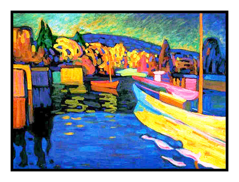 Autumn Landscape by Artist Wassily Kandinsky Counted Cross Stitch or Counted Needlepoint Pattern
