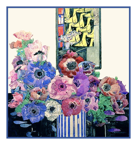 Charles Rennie Mackintosh's Still Life of Anemones Counted Cross Stitch Pattern