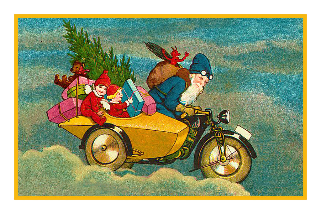 Victorian Father Christmas Santa Delivering Presents on His Motorcycle Counted Cross Stitch or Counted Needlepoint Pattern