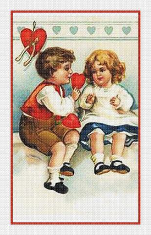 Victorian Valentine Boy Giving Girl a Valentine Counted Cross Stitch Pattern