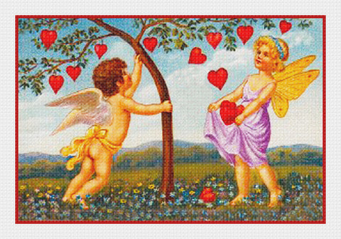 Victorian Cupid Shaking Hearts from a Tree Valentine from Antique Card Counted Cross Stitch Pattern
