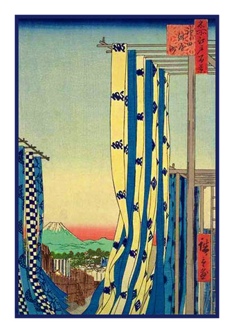 Dyer's Quarter, Kanda (Kanda Kon'ya-cho) by Utagawa Hiroshige Counted Cross Stitch Pattern