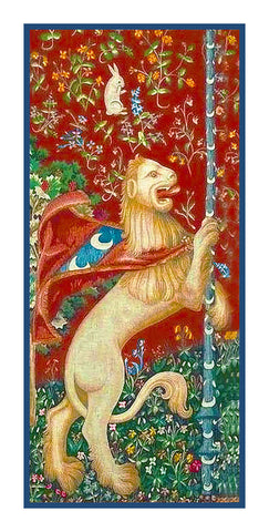 Lion Detail from the Lady and The Unicorn Tapestries Counted Cross Stitch or Counted Needlepoint Pattern