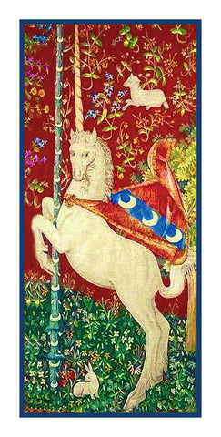 Unicorn Detail from the Lady and The Unicorn Tapestries Counted Cross Stitch or Counted Needlepoint Pattern