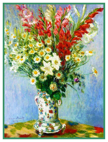 Bouquet of Lilies and Gladiolus inspired by Claude Monet's impressionist painting Counted Cross Stitch Pattern