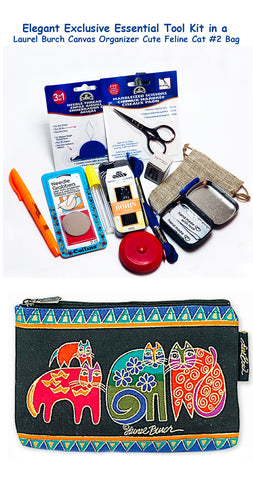 Laurel Burch Cute Feline Cat #2 Elegant Exclusive Cross Stitch Essential Tool Kit-12 Items Packaged in a Zippered Canvas Bag