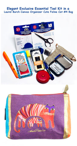 Laurel Burch Cute Feline Cat #4 Elegant Exclusive Cross Stitch Essential Tool Kit-12 Items Packaged in a Zippered Canvas Bag
