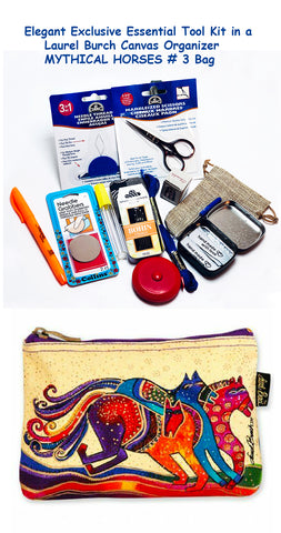 Laurel Burch Mythical Horses #3 Elegant Exclusive Cross Stitch Essential Tool Kit-12 Items Packaged in a Zippered Canvas Bag