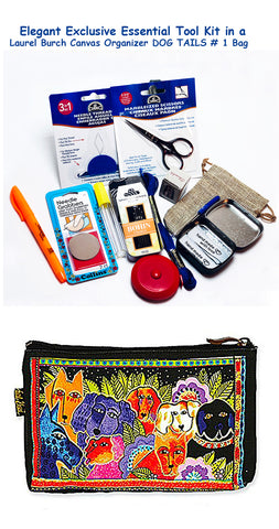 Laurel Burch Dog Tails #1 Elegant Exclusive Cross Stitch Essential Tool Kit-12 Items Packaged in a Zippered Canvas Bag
