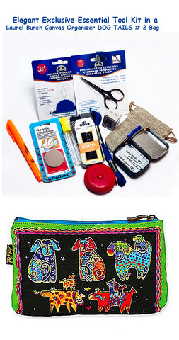 Laurel Burch Dog Tails #2 Elegant Exclusive Cross Stitch Essential Tool Kit-12 Items Packaged in a Zippered Canvas Bag