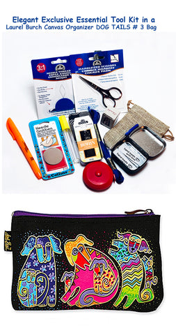Laurel Burch Dog Tails #3 Elegant Exclusive Cross Stitch Essential Tool Kit-12 Items Packaged in a Zippered Canvas Bag