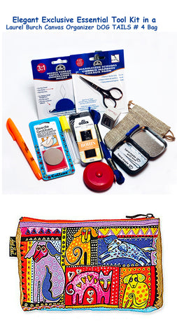Laurel Burch Dog Tails #4 Elegant Exclusive Cross Stitch Essential Tool Kit-12 Items Packaged in a Zippered Canvas Bag