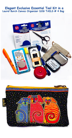 Laurel Burch Dog Tails #5 Elegant Exclusive Cross Stitch Essential Tool Kit-12 Items Packaged in a Zippered Canvas Bag