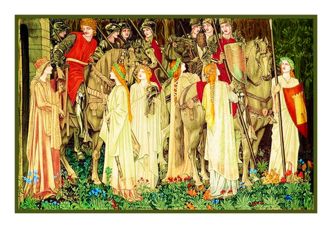 Holy Grail Arming and Departure of Knights William Morris Counted Cross Stitch Pattern