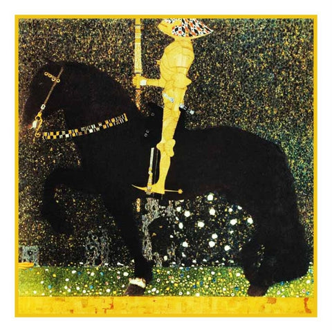 Symbolist Klimt Golden Knight Counted Cross Stitch Pattern