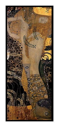 Symbolist Gustav Klimt Water Serpents Counted Cross Stitch Chart Pattern