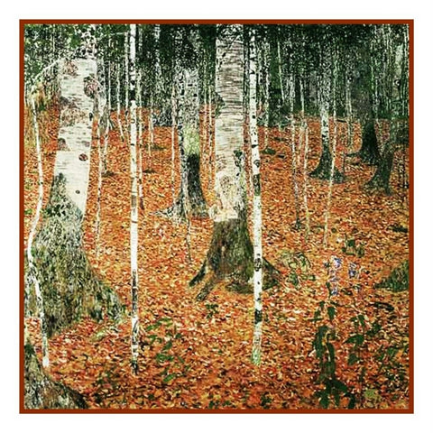 Symbolist Klimt Birch Woods in Autumn Counted Cross Stitch Chart Pattern
