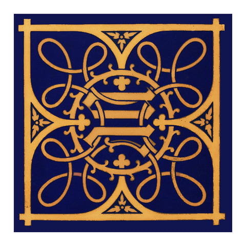 AWN Pugin Ornate Blue Gold Design from tile Counted Cross Stitch Chart Pattern