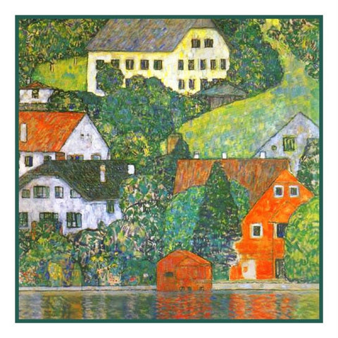 Symbolist Artist Klimt's Houses in Unterach Counted Cross Stitch Chart Pattern