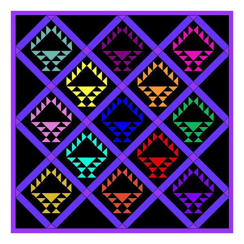 Vivid Baskets Inspired by an  Amish Quilt Counted Cross Stitch Pattern
