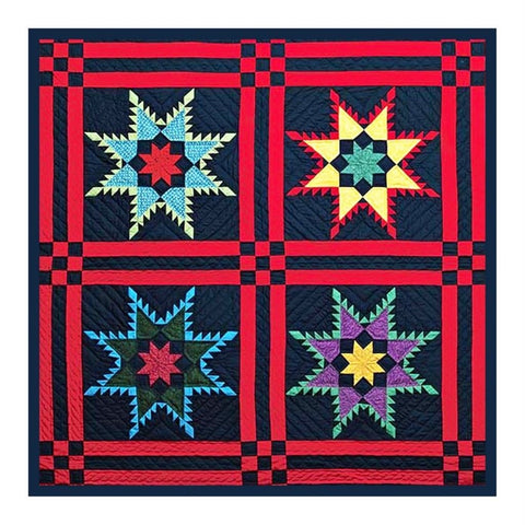 4 Feathered Stars inspired by Amish Quilt Counted Cross Stitch Chart Pattern