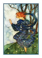 Pre Raphaelite Florence Harrison Wind Fairy Counted Cross Stitch Chart Pattern