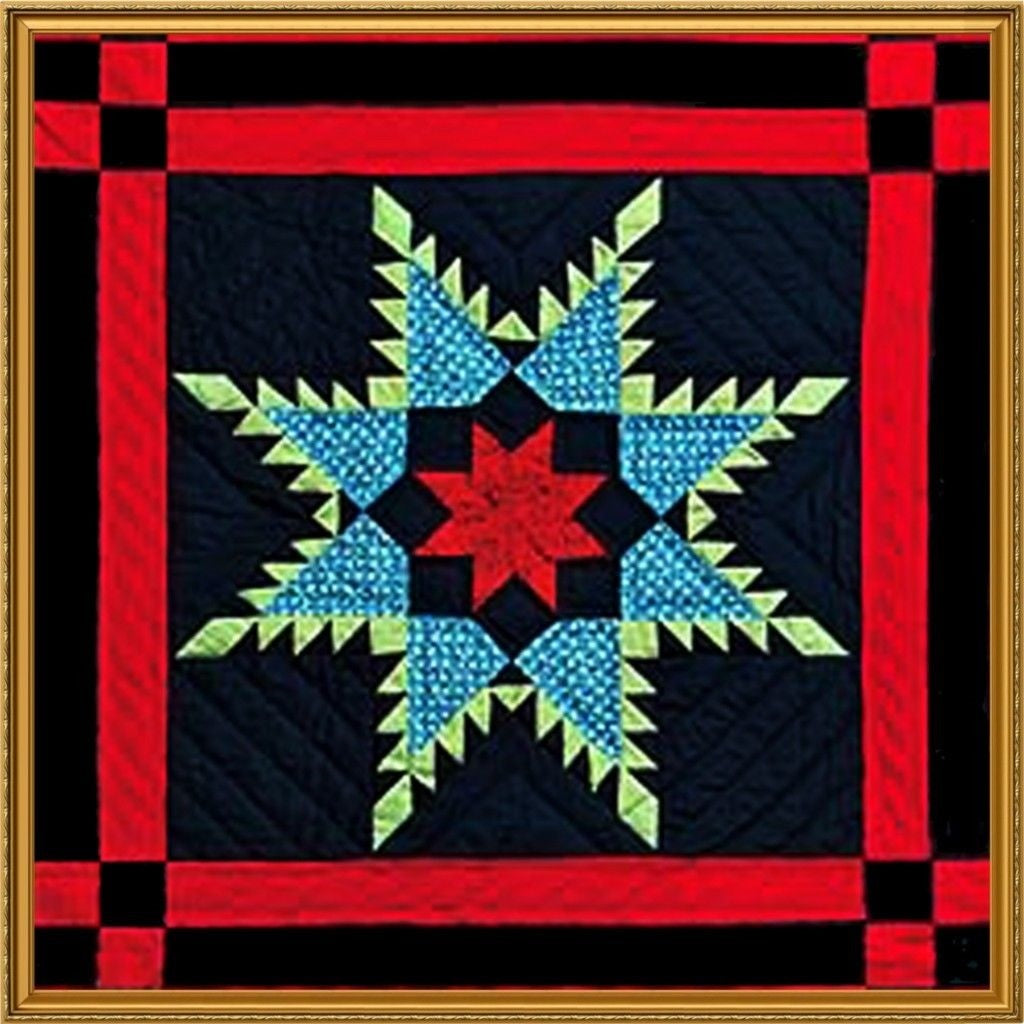 Geometric Rosettes inspired by an Amish Quilt Counted Cross Stitch Chart Pattern