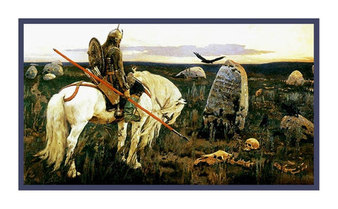 Viktor Mikhailovich Vasnetsov Knight at Crossroads Counted Cross Stitch Pattern